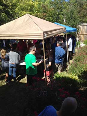 people ejoying the crawfish boil put on by JPM Enterprises